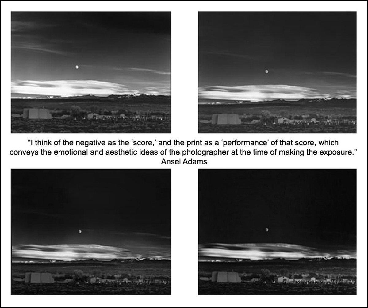 Épreuves successives du Clair de lune sur Hernandez, par Ansel Adams (1941)